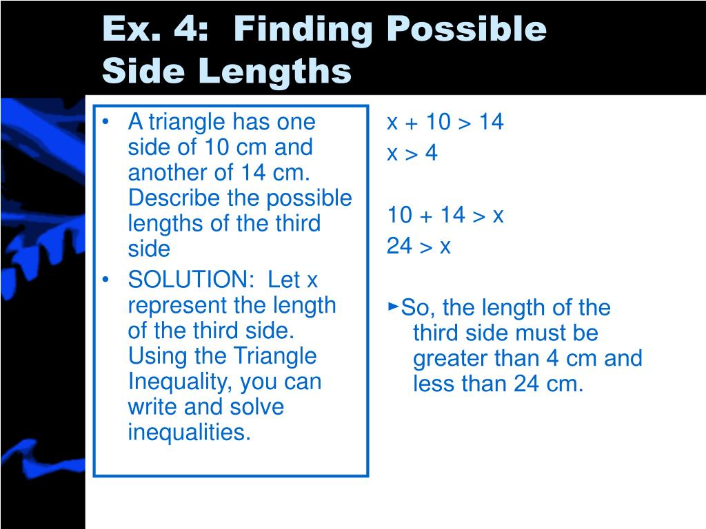 A triangle has one side of 10 cm and another of 14 cm.  Describe the possible lengths of the third side
