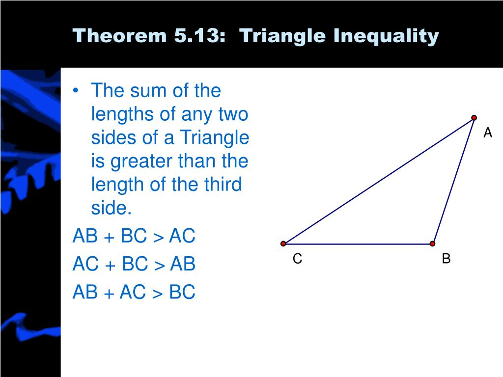 The sum of the lengths of any two sides of a Triangle is greater than the length of the third side.