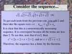 consider the sequence