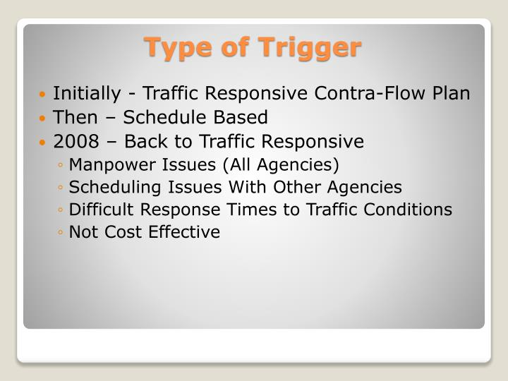 Initially - Traffic Responsive Contra-Flow Plan
