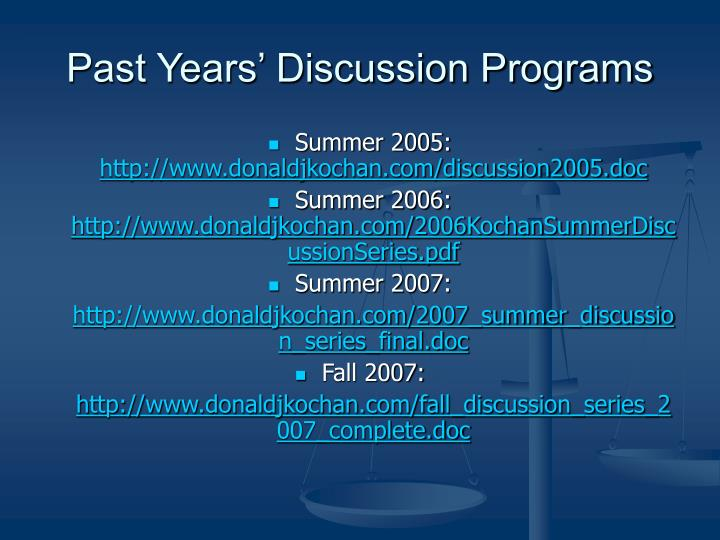 Past years discussion programs