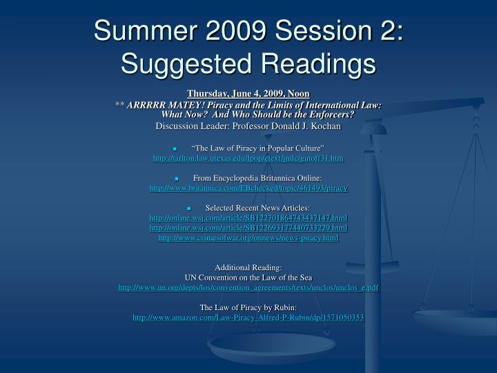 Summer 2009 Session 2: Suggested Readings
