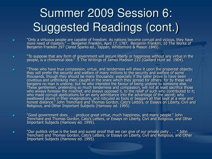 Summer 2009 Session 6: Suggested Readings (cont.)