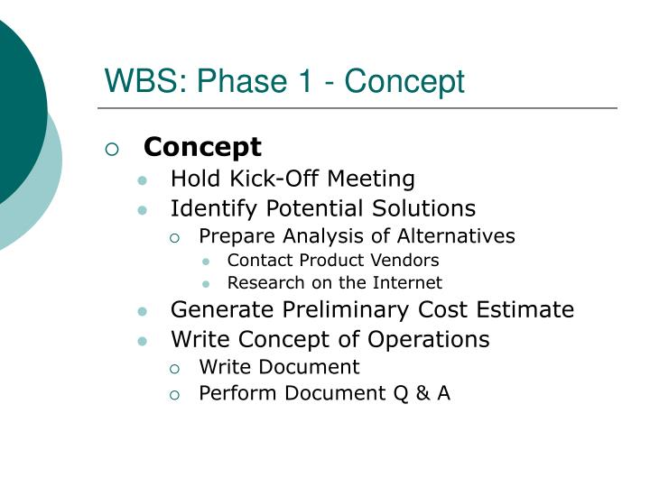 WBS: Phase 1 - Concept