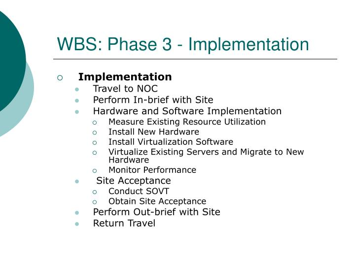 WBS: Phase 3 - Implementation