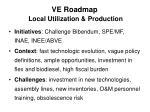 ve roadmap local utilization production