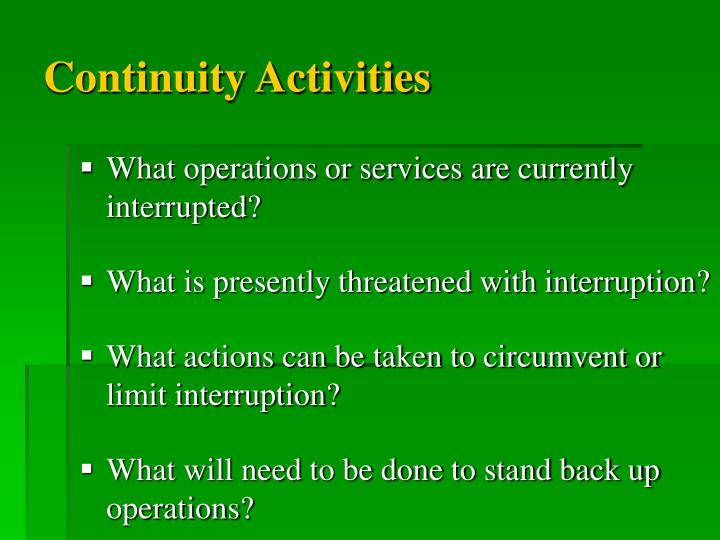 Continuity Activities