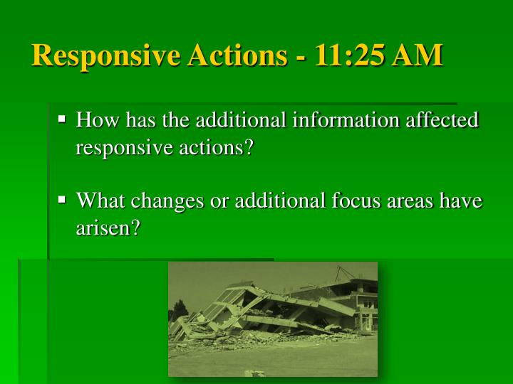 Responsive Actions - 11:25 AM