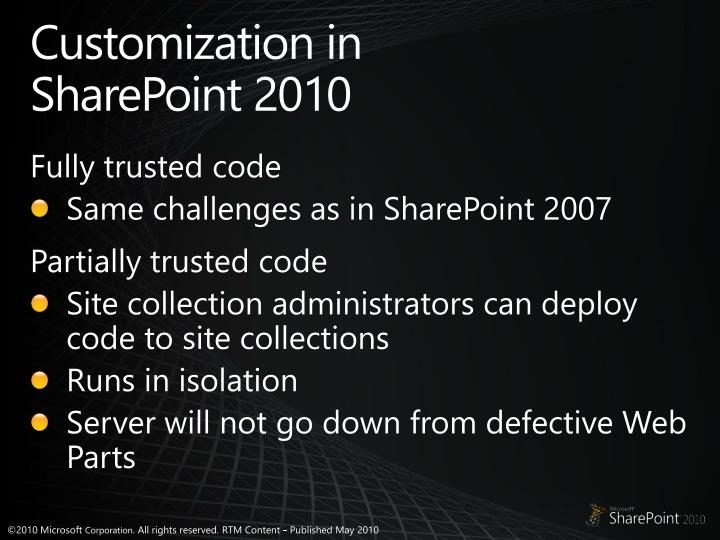 Customization in SharePoint 2010