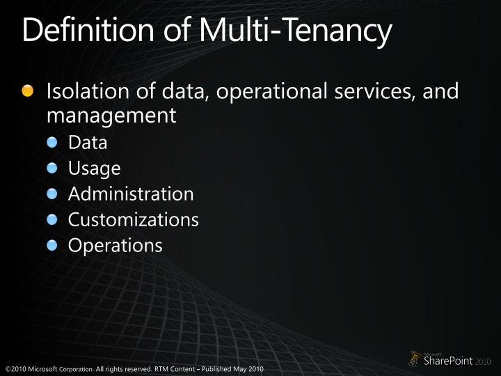 Definition of Multi-Tenancy