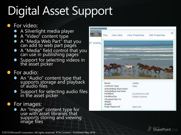 Digital Asset Support