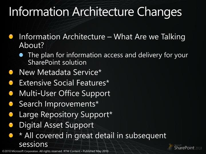 Information Architecture Changes