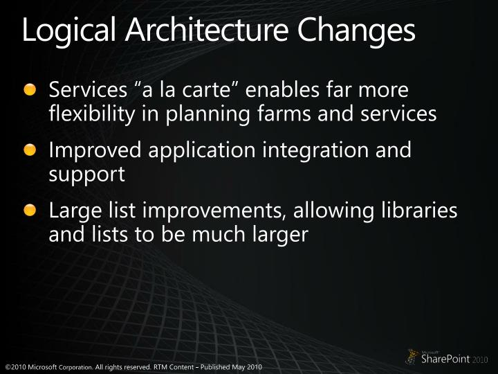 Logical Architecture Changes