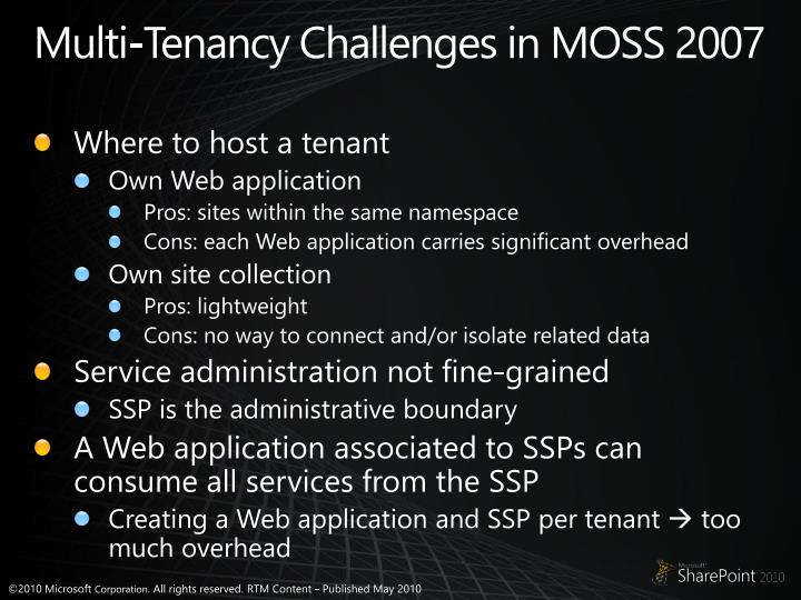 Multi-Tenancy Challenges in MOSS 2007
