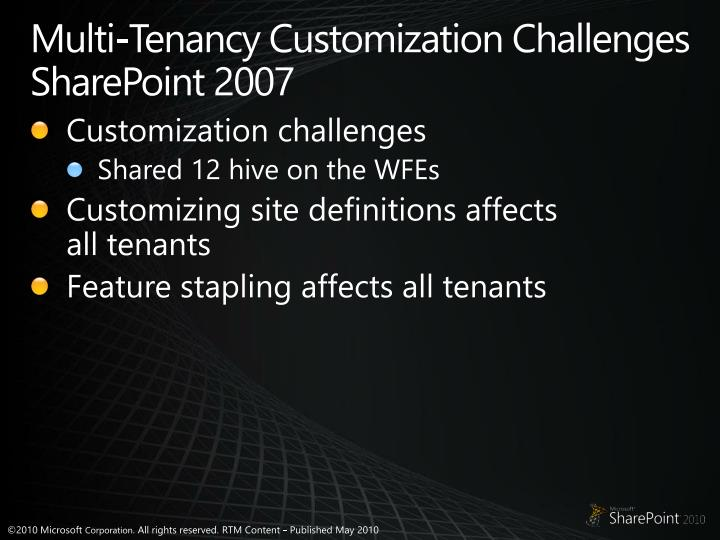Multi-Tenancy Customization Challenges SharePoint 2007