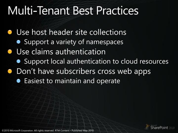 Multi-Tenant Best Practices