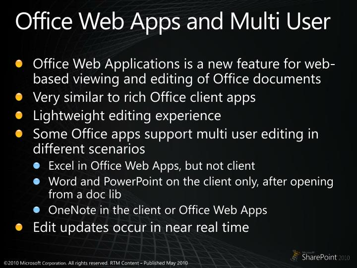 Office Web Apps and Multi User