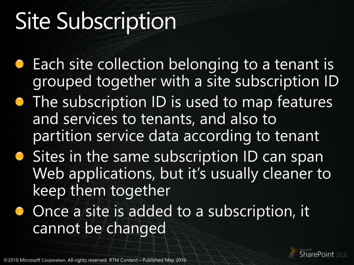 Site Subscription