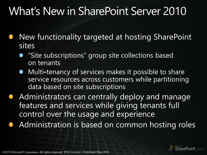 What's New in SharePoint Server 2010