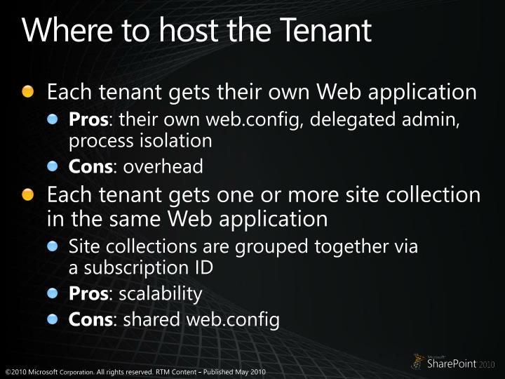 Where to host the Tenant