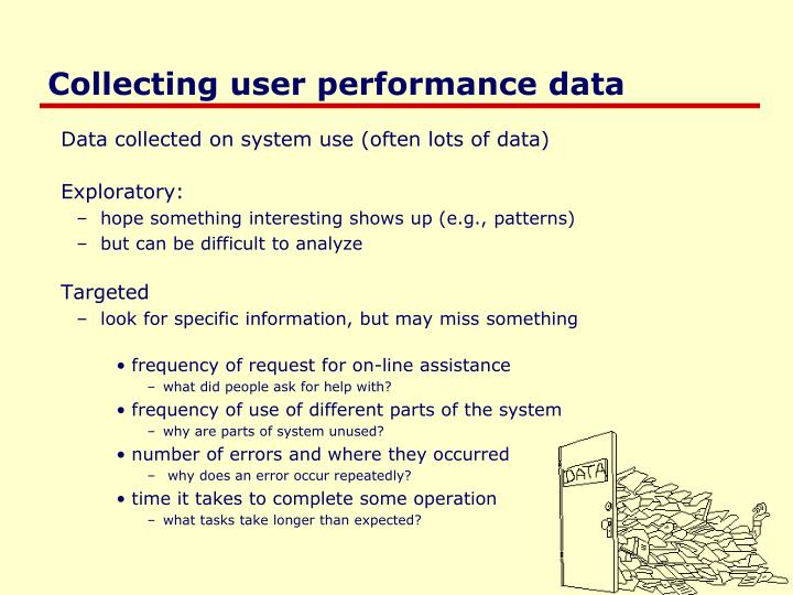 Collecting user performance data