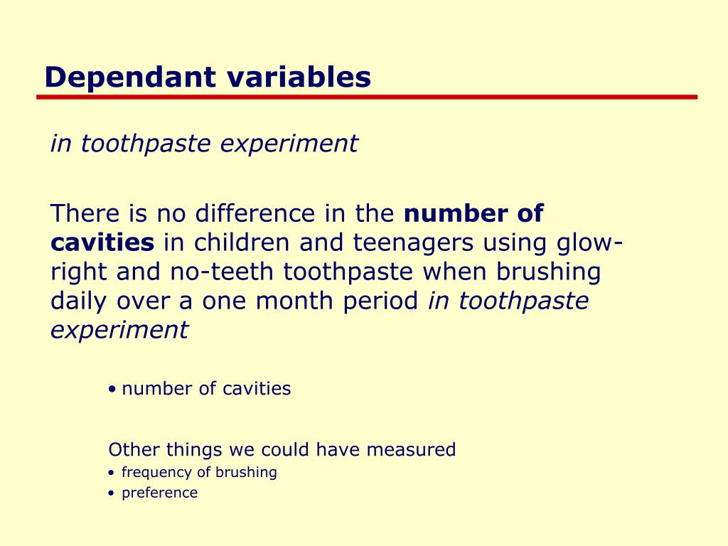 Dependant variables