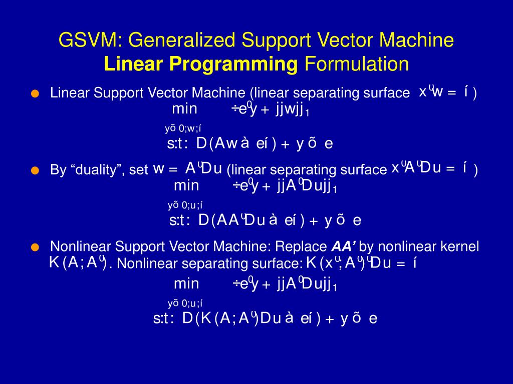 Linear Support Vector Machine (linear separating surface                )