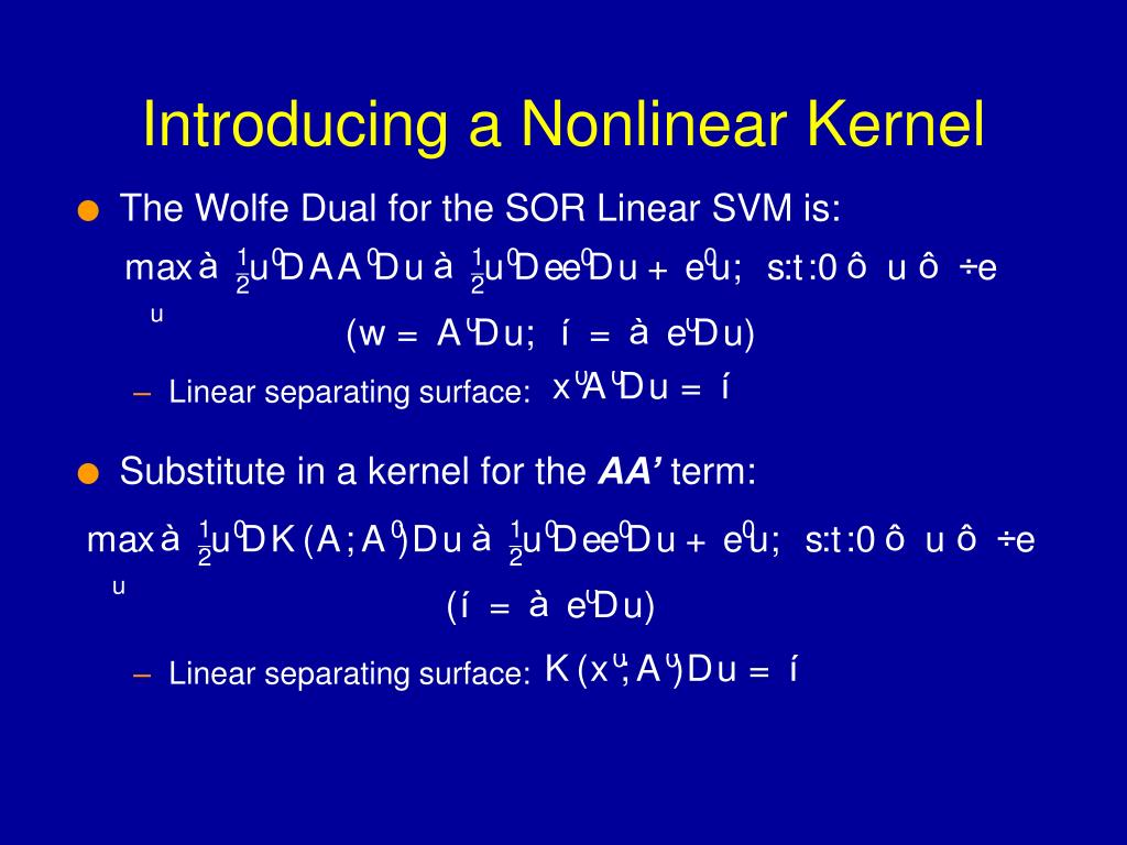 Substitute in a kernel for the