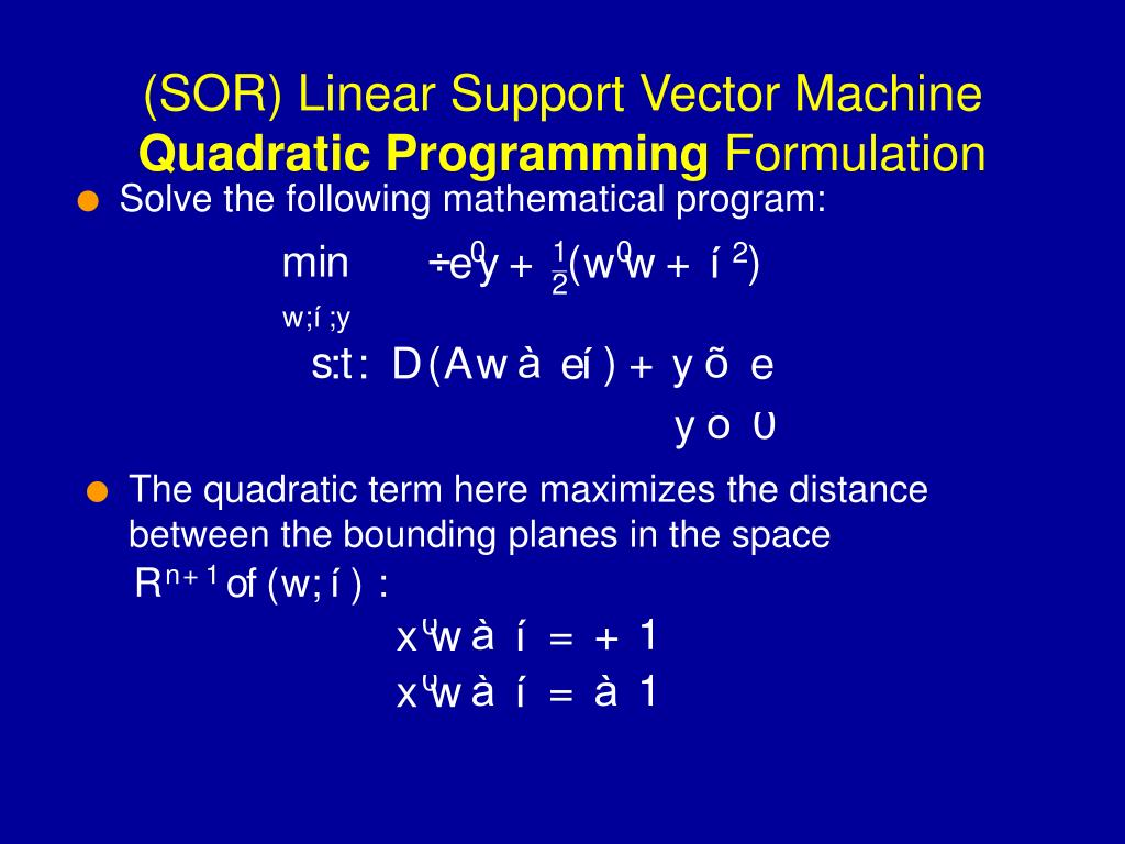 (SOR) Linear Support Vector Machine
