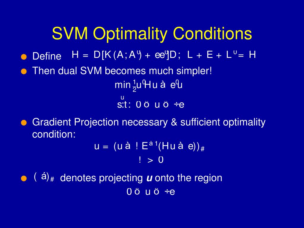 SVM Optimality Conditions