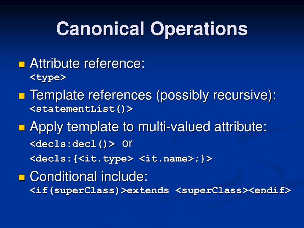 Canonical Operations