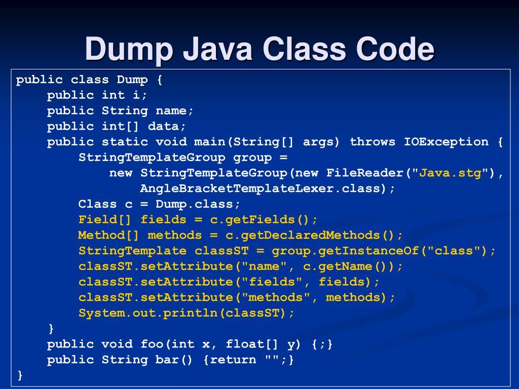 Dump Java Class Code