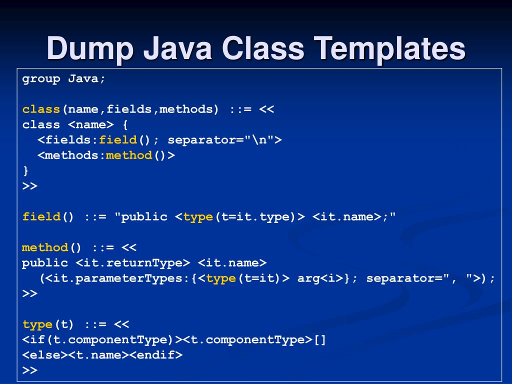 Dump Java Class Templates