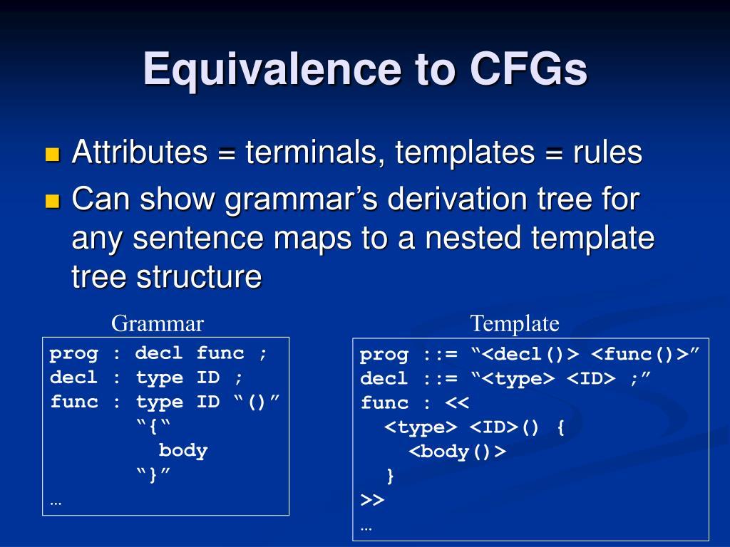 Equivalence to CFGs