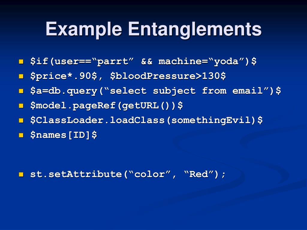 Example Entanglements