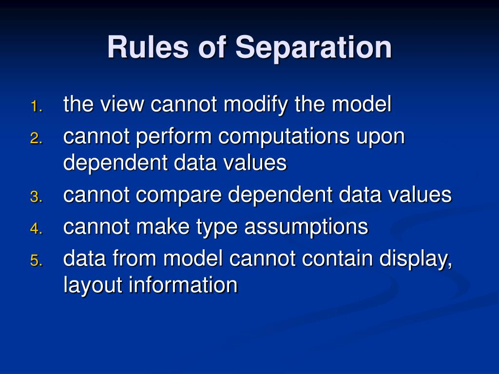 Rules of Separation