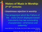 history of music in worship 2 nd 5 th centuries6