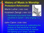 history of music in worship protestant reformation