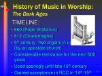 history of music in worship the dark ages11