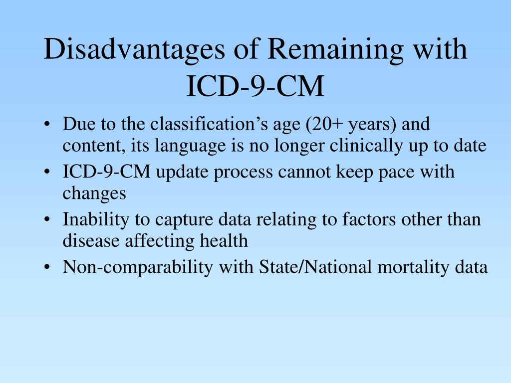 Disadvantages of Remaining with ICD-9-CM