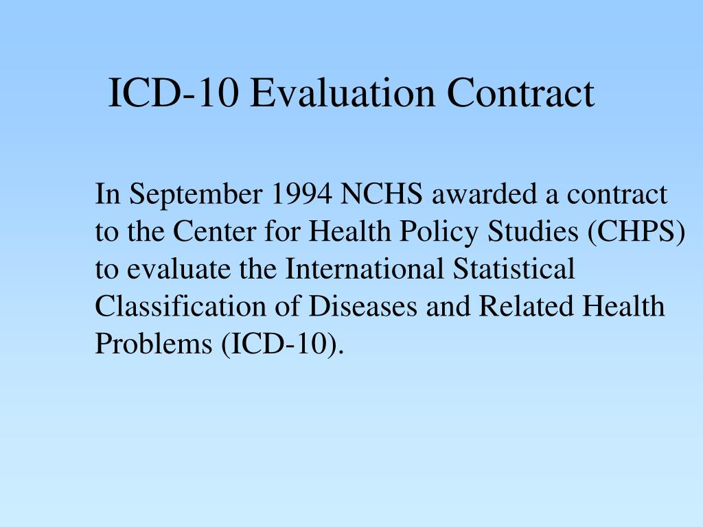 ICD-10 Evaluation Contract
