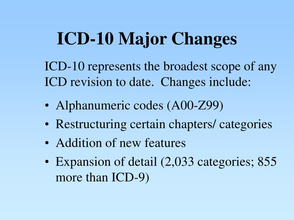 ICD-10 Major Changes