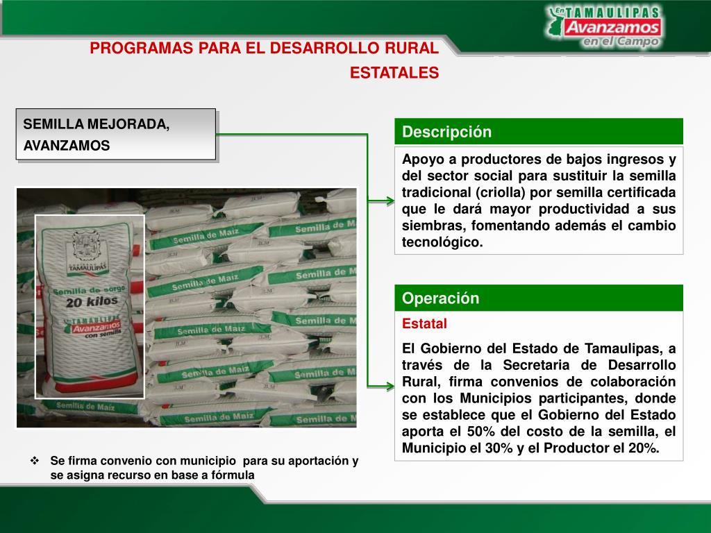 PROGRAMAS PARA EL DESARROLLO RURAL