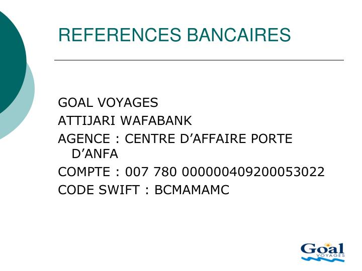 REFERENCES BANCAIRES