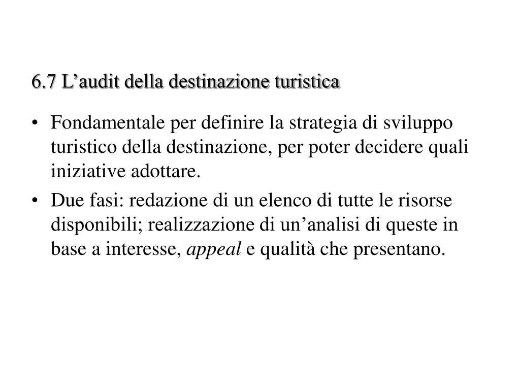 6.7 L'audit della destinazione turistica