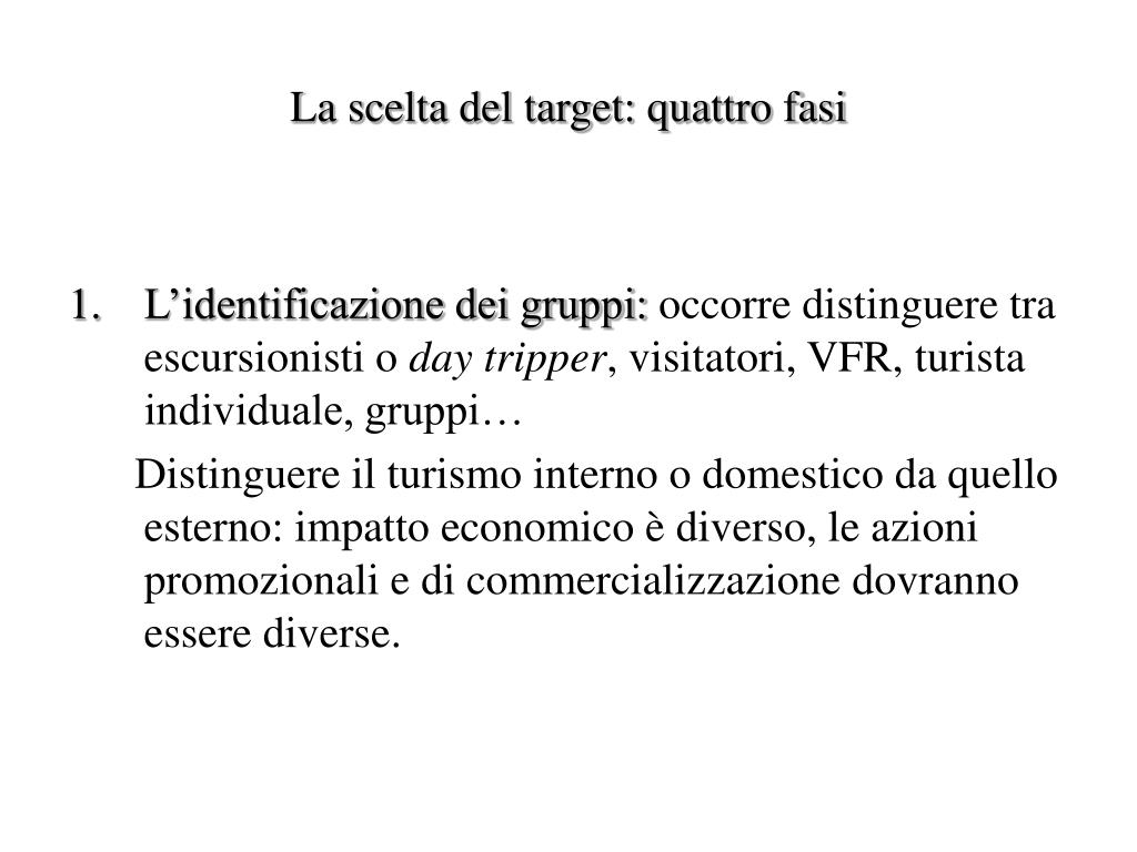 La scelta del target: quattro fasi