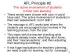 afl principle 2 the active involvement of students in their own learning