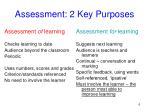 assessment 2 key purposes