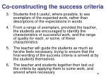 co constructing the success criteria