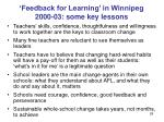 feedback for learning in winnipeg 2000 03 some key lessons